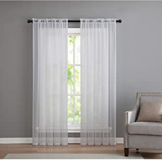 GoodGram® Window Curtain Panels-Assorted Colors & Sizes (White, 84 in. Long Pair), 84 in. Long