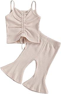 2 قطعة/مجموعة الرضع البنات الرضع بلا أكمام حزام أعلى كم تي شيرت فضفاض سروال جرس ثوب صيفي