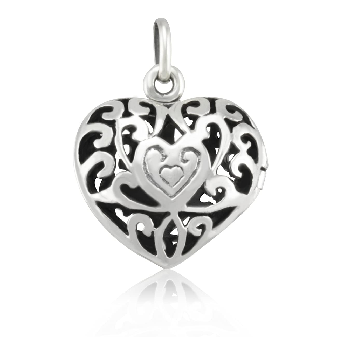 WithLoveSilver Solid Sterling Silver 925 Stencil Heart Love Locket Pendant