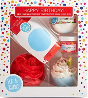 Fizz & Bubble Happy Birthday Gift Box! Includes Bubble Bath Cupcake, Bath Fizzy, Body Frosting, Lip Scrub And Mesh Sponge! Restored Your Skin Soft and Soothed! Bath And Body Skincare Essentials!