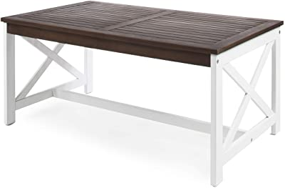 Christopher Knight Home Ivan Outdoor Acacia Wood Coffee Table with Base, White Base / Dark Brown Top