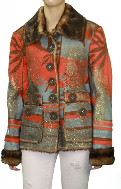 CUSTO BARCELONA Women's Bu Palms Fur Collar Graphic Coat 592455
