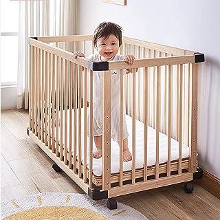 Dripex Baby Laufstall aus Holz, 4 Paneele Spielzaun für Kleinkinder, Multi Kids Activity Center Sicherheit Spielhof, Babybett Holz Krippe 100 x 65 cm