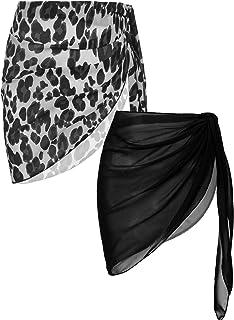 Ekouaer Womens 2 Pieces Beach Short Sarong Sexy Sheer Chiffon Pareo Wrap Swimwear Bikini Cover-ups S-XXL