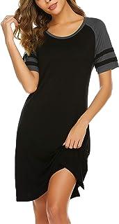 قمصان نوم نسائية من Hotouch قمصان نوم نسائية بأكمام قصيرة مخططة ملابس نوم مريحة مقاس S-XXL