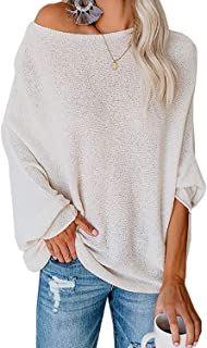 ReachMe Womens Lightweight Oversized Dolman Sweaters Batwing Sleeve Pullover Tops Boat Neck Sweater