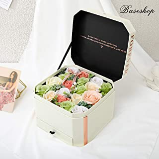 Never Withered Artificial Rose,Handmade Soap Flower Orange Pink White Green,Gift Box,Present Flower Forever for Birthday Anniversary Valentine Floral