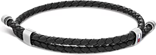 Tommy Hilfiger Men'S Black Stainless Steel & Black Leather & Black Cord Wrap Bracelets -2790224