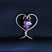 Amethyst Heart Labien | Handmade Intimate Jewelry | Non Piercing Lip Clip | Stainless Steel