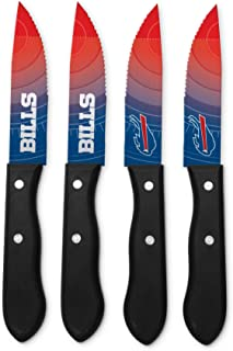 NFL Steak Knives - Set of 4 Stainless Steel Serrated Blade Kitchen Steak Knives - Durable & Dishwasher Safe - Scratch Resi...