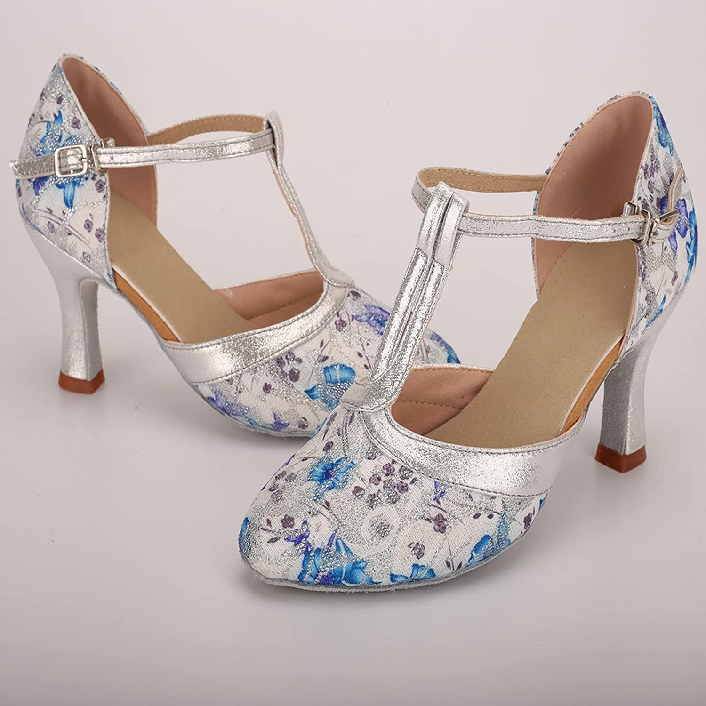 ZYAPCNGN Women Latin Dance Sandals High Heels Dancing Shoes Rumba Waltz Dance Sandals Prom Ballroom Party Shoes