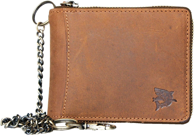 Zip-around (metal zipper-around) Genuine Leather Wallet with Shark with Chain