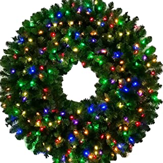Large Wreath - 4 Foot Multi-Color L.E.D. Christmas Wreath - 48 inch - 200 LED Lights - Indoor - Outdoor