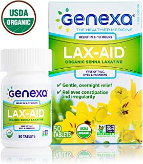 Genexa Lax-Aid for Adults – 50 Tablets | Gentle Overnight Senna Laxative, Certified Organic, Non-GMO & Certified Vegan | Free of Talc, Dyes & Parabens