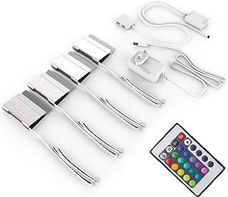 comprar comparacion Pinzas iluminacion para superficies, Pack de 4, Luz de multicolores LED, incl. Mando a distancia