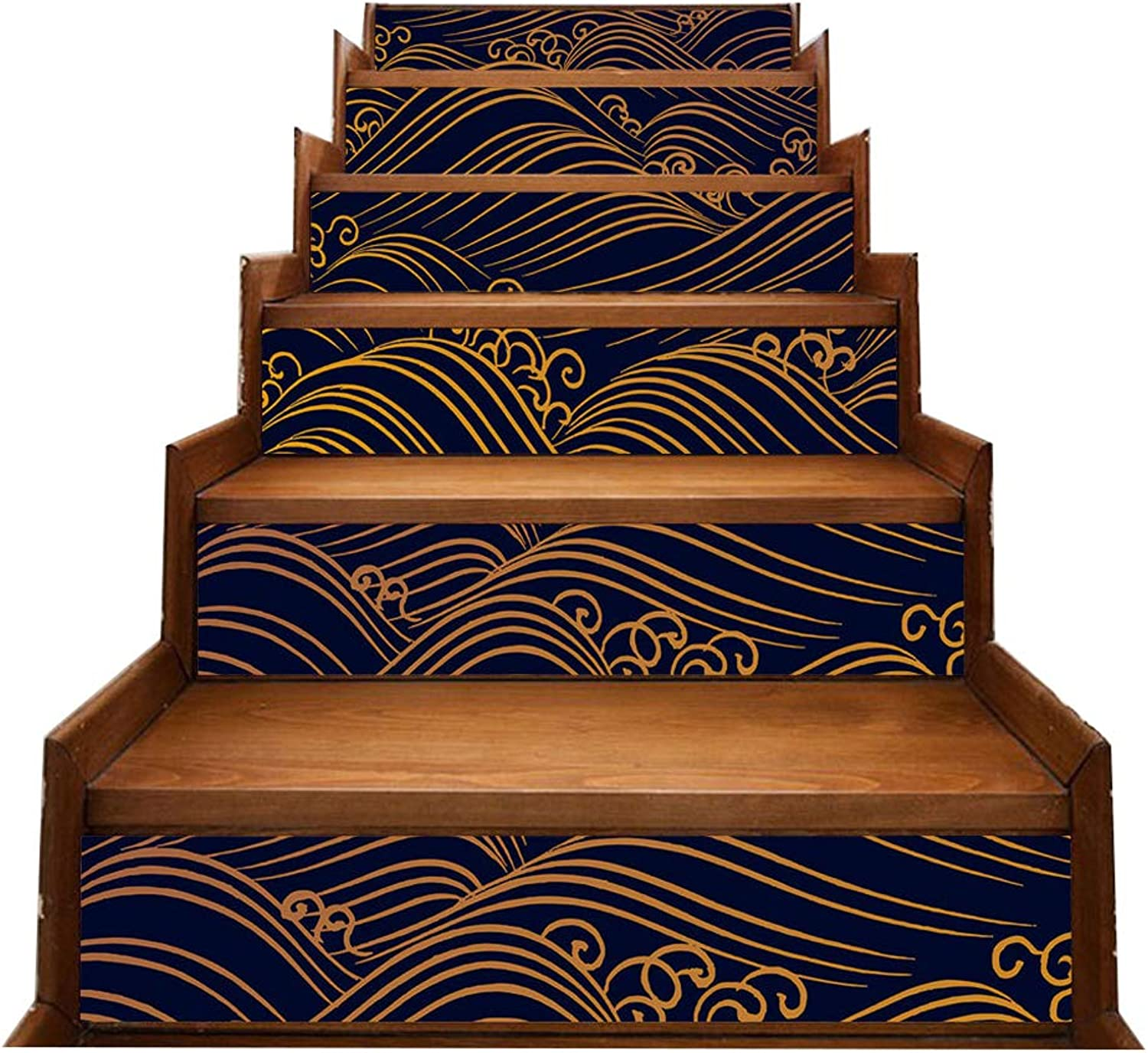 3D Stairs Stickers Originality Wave DIY Self-Adhesive Stairs Decals Removable Waterproof Refurbished Stair Sticker Home Decor (18  100Cm) 1Set 6PCS,6(Pieces)