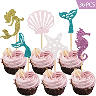Haojiake 36pcs Mermaid Cupcake Toppers, for Baby Shower Birthday Party Supplies, Under The Sea Party Cake Decorations