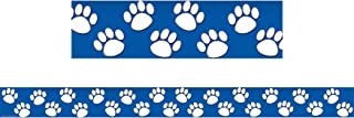 Teacher Created Resources TCR4620BN Blue/White Paw Prints Straight Border Trim, 35' Per Pack, 6 Packs