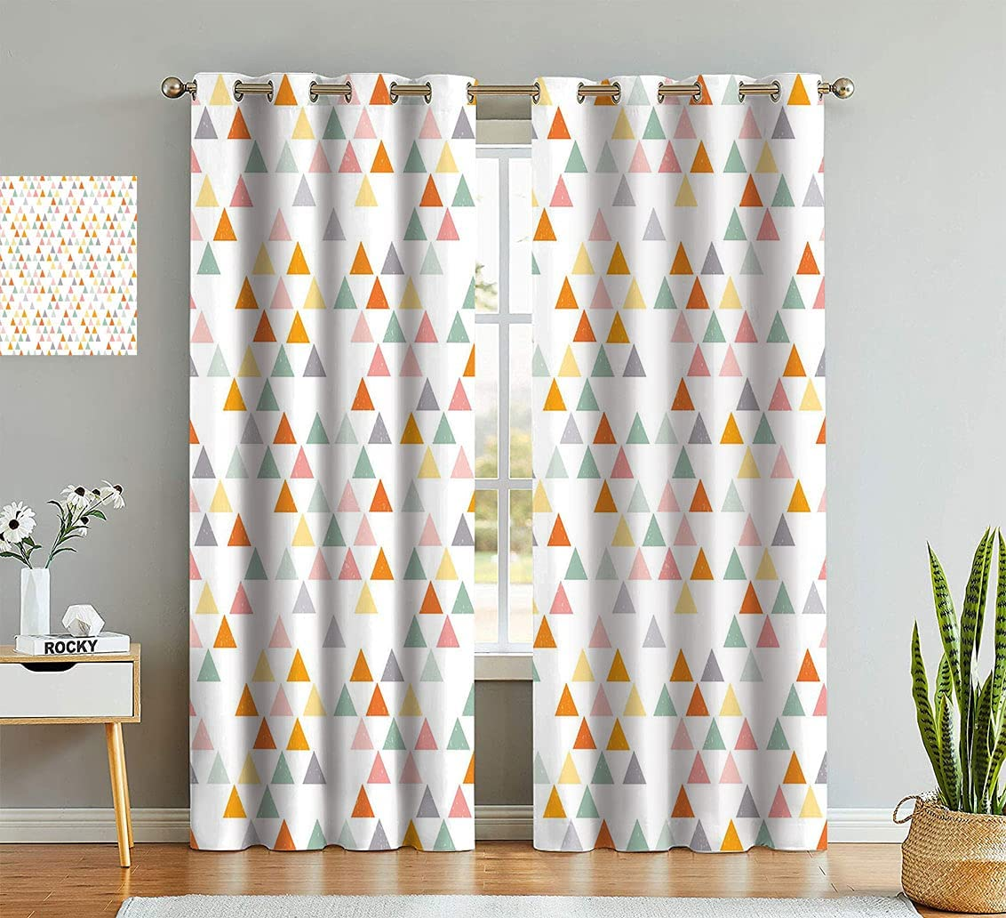 Geometric Digital Print Curtains Over item handling Colorful Design Vint Recommendation Triangles