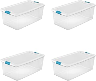 Sterilite 14998004 106 quart/100 L Latching Box with Clear Base, White Lid and Colored Latches, 4-Pack