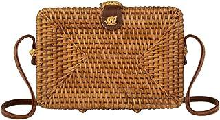 Square Straw Rattan Crossbody Bag for Women | Bali Ata Woven Wicker Purse for Summer Beach Vegan Leather Strap