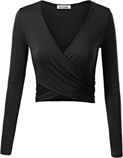 Women's Deep V Neck Long Sleeve Unique Slim Fit Cross Wrap Shirts Crop Tops