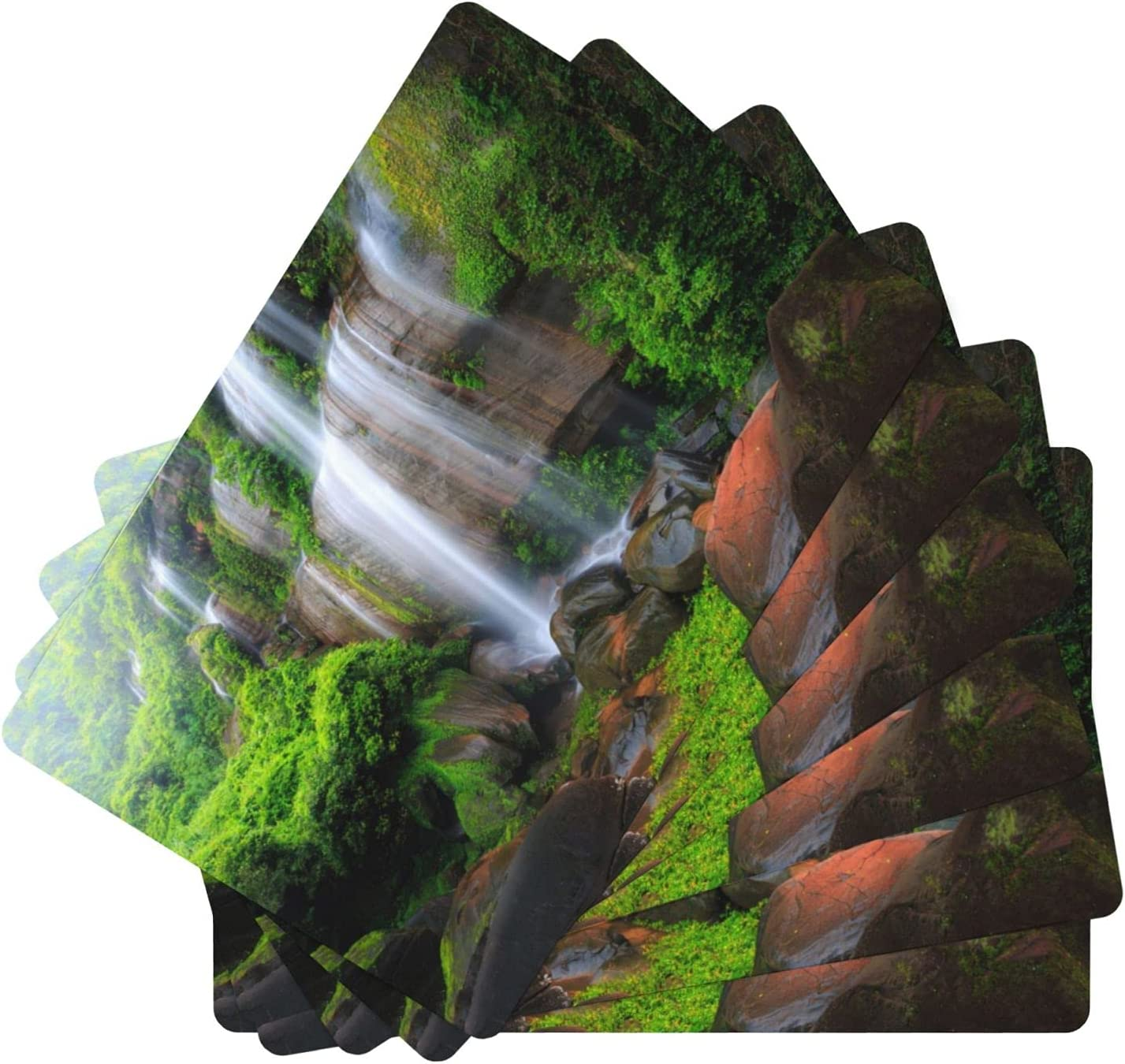 Amazing Waterfall in Deep Rainforest El Paso Super beauty product restock quality top! Mall Leather of Mats 6 Set Table
