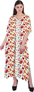 RADANYA Women's Swimwear Cotton Kaftans Swimsuit Cover Up Caftan Beach Long Dress Floral Print