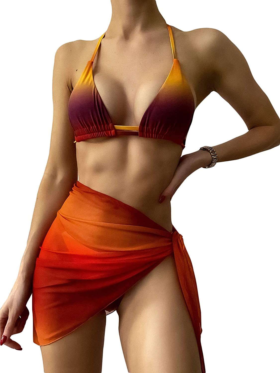 Floerns Women's Tie Dye Triangle Bikini Set with Cover Up Skirt 3 Piece Swimsuits