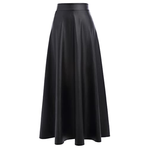 7bccf9af7bb9 Kate Kasin Women's PU Faux Leather High Waist A-Line Long Swing Skater Skirt