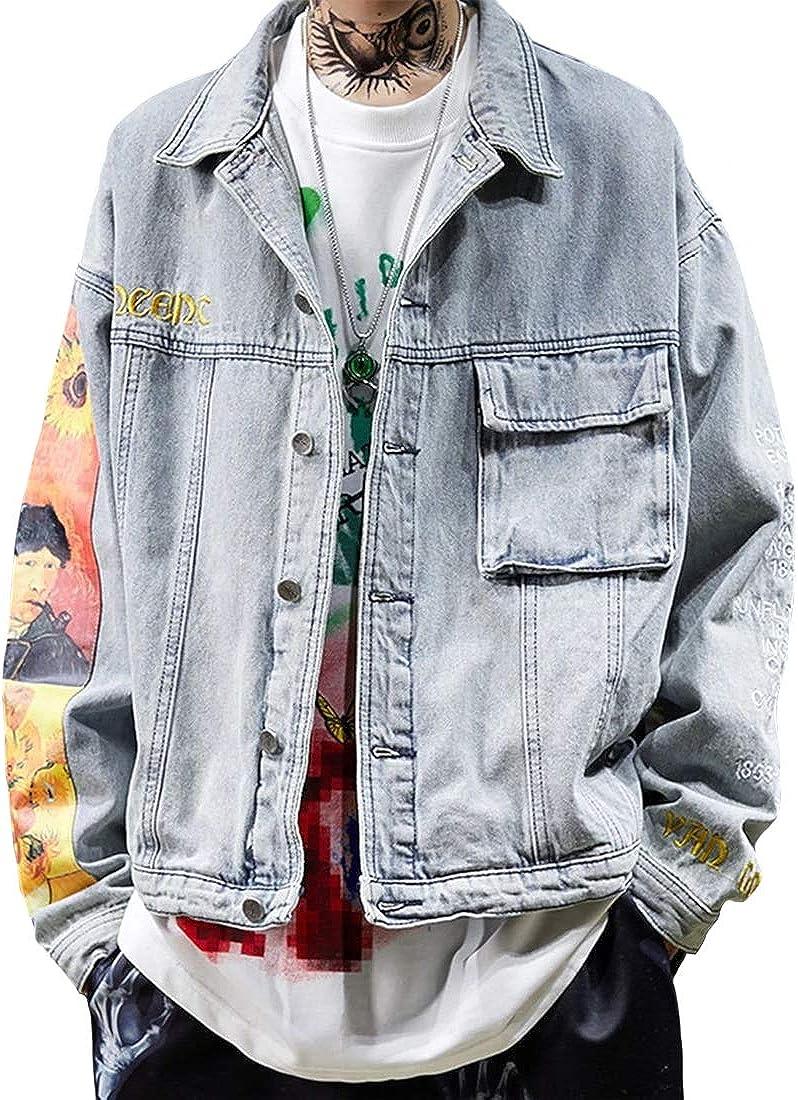 Vamtac Women's Casual Button Denim Jacket Long Sleeve Sunflower Print Denim Jacket Vintage Coats