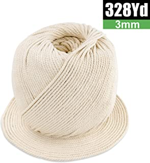 Macrame Cord 3mm x 328Yards | 100% Natural Macrame Rope | 3 Strand Twisted Cotton Cord for Wall Hanging, Plant Hangers, Crafts, Knitting, Decorative Projects | Soft Undyed Cotton Rope