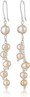 Sterling Silver Long Pink Freshwater Cultured Pearls Drop Earrings