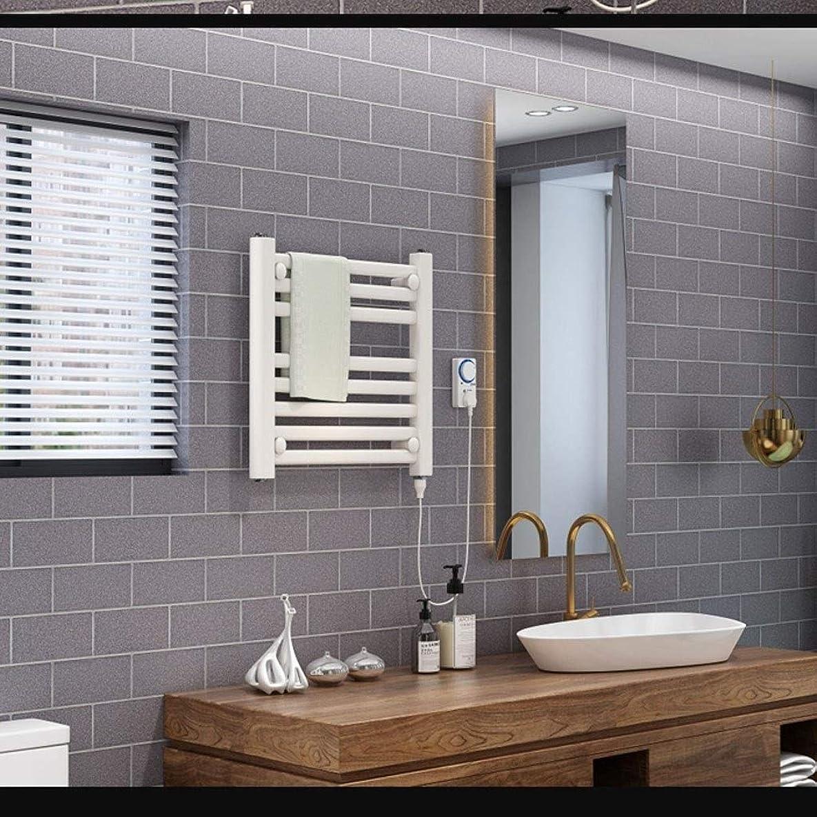 ダニパンチみなすサーモスタット電気加熱タオルレール、浴室電気加熱乾燥ラック、浴室キッチン壁吊り-200W (Color : White, Size : 48*48*3cm)