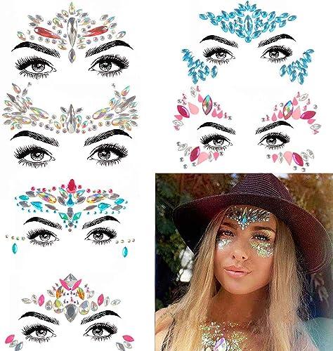 COKOHAPPY 6 Sets Rhinestone Mermaid Face Jewels Tattoo - BODY STICKERS Crystal Tears Gem Stones Bindi Temporary Stick...