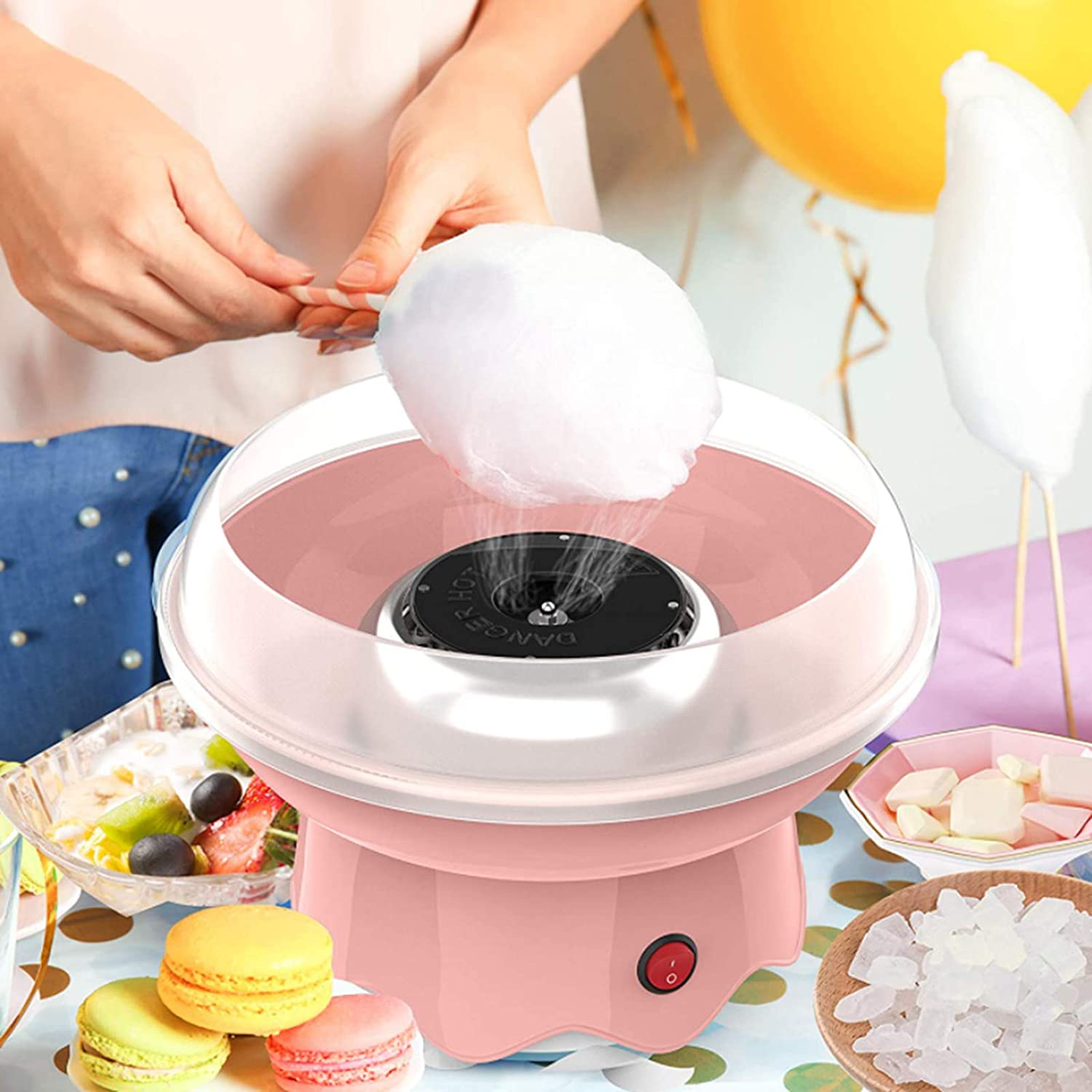 Peitten Cotton Candy Machine for Kids Makers, Pinks 2 Electric Automatic Cotton Candy Floss Maker with Splashproof Plate Stainless Steel Mini Children Sugar Cotton Candy Machine for Birthday