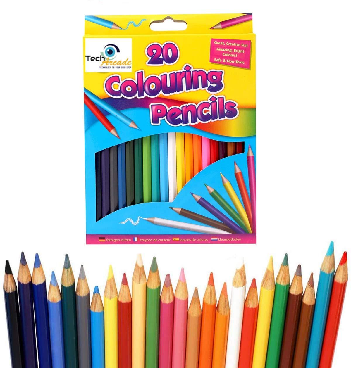 Pack de 20 lápices para colorear grandes para la escuela o el arte de los niños: Amazon.es: Oficina y papelería