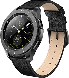 SWEES Genuine Leather Band Compatible for Galaxy Watch 42mm & Gear S2 Classic & Gear Sport, 20mm Thin Learther Bands with Quick Release for Galaxy Watch Active 2 Smart Watch 2019 Women Men, Black