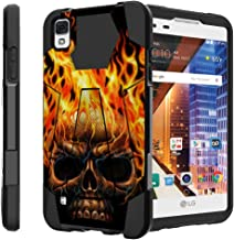 Untouchble Case for LG Tribute HD Hard Case| LG X Style Case, LG Volt 3 Case Case [Traveler Series] Durable Two Layer Bumper Shell with Kickstand - Skull on Fire