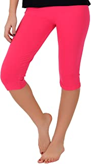 Women's and Girl's Knee-Length Leggings   Stretchy Leggings   Cotton Spandex   XS Child - 5X Adult