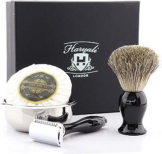 Maszynka do golenia z podwójną krawędzią - prezent dla mężczyzn zestaw do golenia z borsukiem szczotka do golenia golenia ...