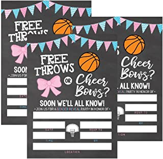 25 Basketball Gender Reveal Baby Shower Party Invitation Cards, Free Throws or Cheer Bows For Gender Neutral Unisex Invites Guess If It's a Boy or Girl Sprinkle Fill In The Blank Printable Invite Pack