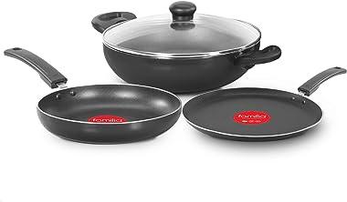 Familia Nonstick Aluminium 3 Pcs Cookware Set (Kadai Pan, Tawa Pan, Fry Pan, Charcoal Grey)