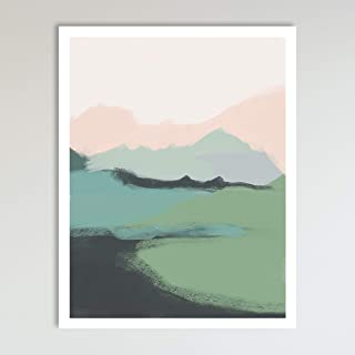 Mountain View, Minimalist Abstract Art, Blue Green and Pink Contemporary Wall Art For Bedroom and Home Decor, Modern Boho Art Print Poster, Country Farmhouse Wall Decor 11x14 Inches, Unframed