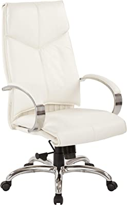 Office Star Deluxe High Back Executive Leather Chair with Chrome Base and Padded Loop Arms,