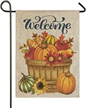 Wamika Sunflowers Pumpkin Garden Flag 12 x 18 Double Sided Burlap, Welcome Fall Autumn Harvest House Yard Flags, Maple Leaves Corn Apple Daisy Outdoor Indoor Banner Farmhouse Country Home Decorations