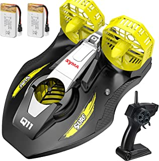 Remote Control Boat for Kids, SYMA Q11 Hovercraft RC Boat for Land, Pools and Lakes with 2.4GHz Speedboat, Double Power, Low Battery Reminder, Speed Boat Remote Control Toy Gifts for Kids and Adults