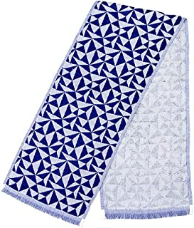 今治タオル 冷感 タオル クールタオル ひんやり 接触冷感 熱中症対策 日本製 W20×H100cm (三角市松/ネイビー)