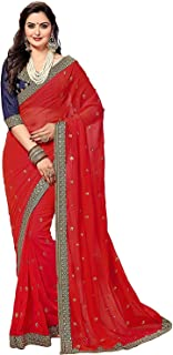 VintFlea Fashion Women's Heavy Rangoli Georgette Embroidery Work Wedding Party Wear Indian Saree with Unstitched Blouse Piece
