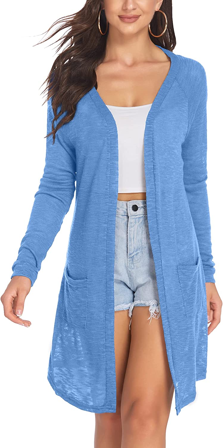 ACEVOG Women's Long Sleeve Cardigan Sweater Lightweight Casual Open Front Cardigans with Pockets